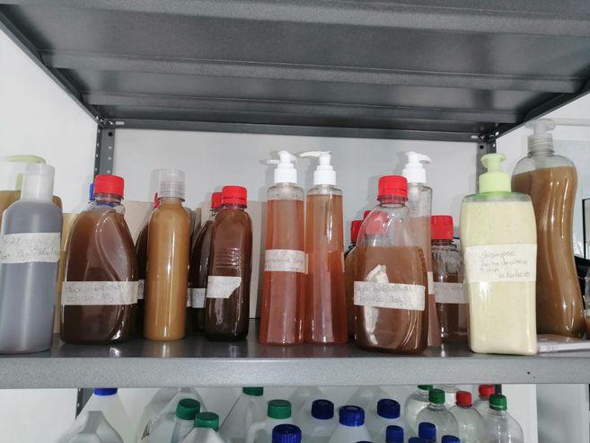 Gel antibacterial, desinfectante de pisos, shampoo y jabones son algunos de los productos que realizan con insumos naturales.