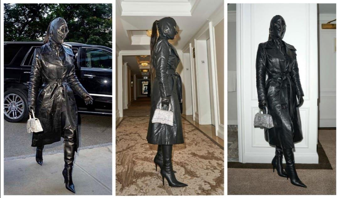 Kim Kardashian lució este controvertido atuendo de Balenciaga en la semana de la moda de Nueva York.