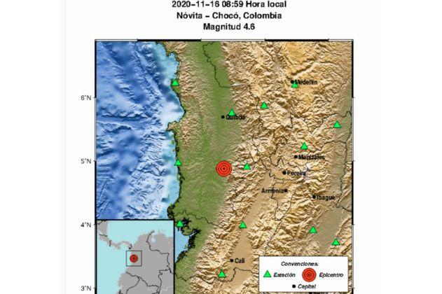 Temblor de magnitud 4.6 en Chocó