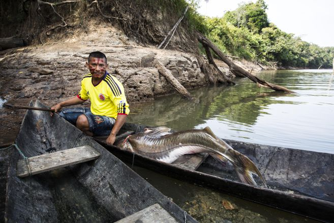 An indigenous person sitting in a fishing boat on the Apaporis River with a large fish next to him.