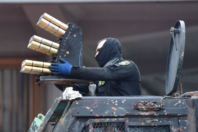 Venom: el arma en la tanqueta del Esmad, que causó pánico en el sur de Bogotá, en el Paro Nacional
