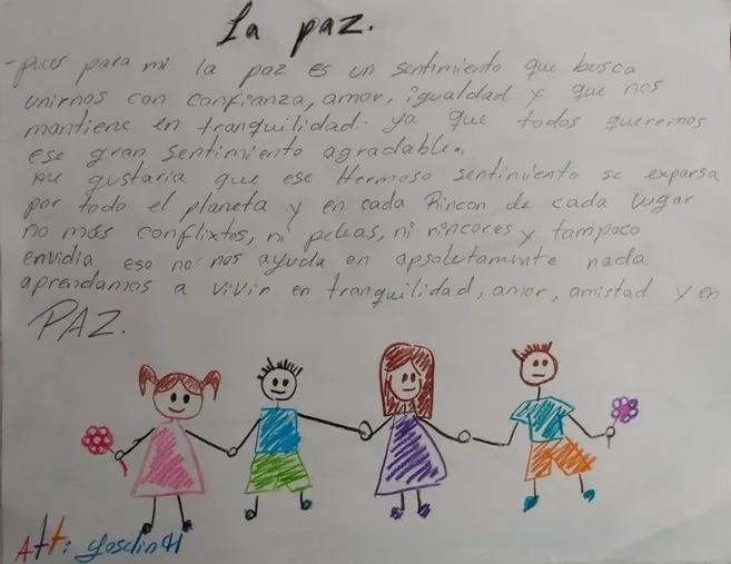 Yoselin H, desde Pondores (La Guajira), dibujó sus anhelos. Su reflexión escrita también está en el libro.