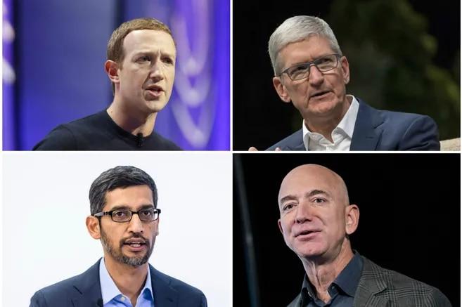 Mark Zuckerberg, Tim Cook (arriba, de izquierda a derecha), Sundar Pichai y Jeff Bezos (abajo).