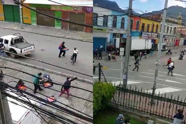 Batalla campal de habitantes de calle y bandas delincuenciales en el centro de Bogotá