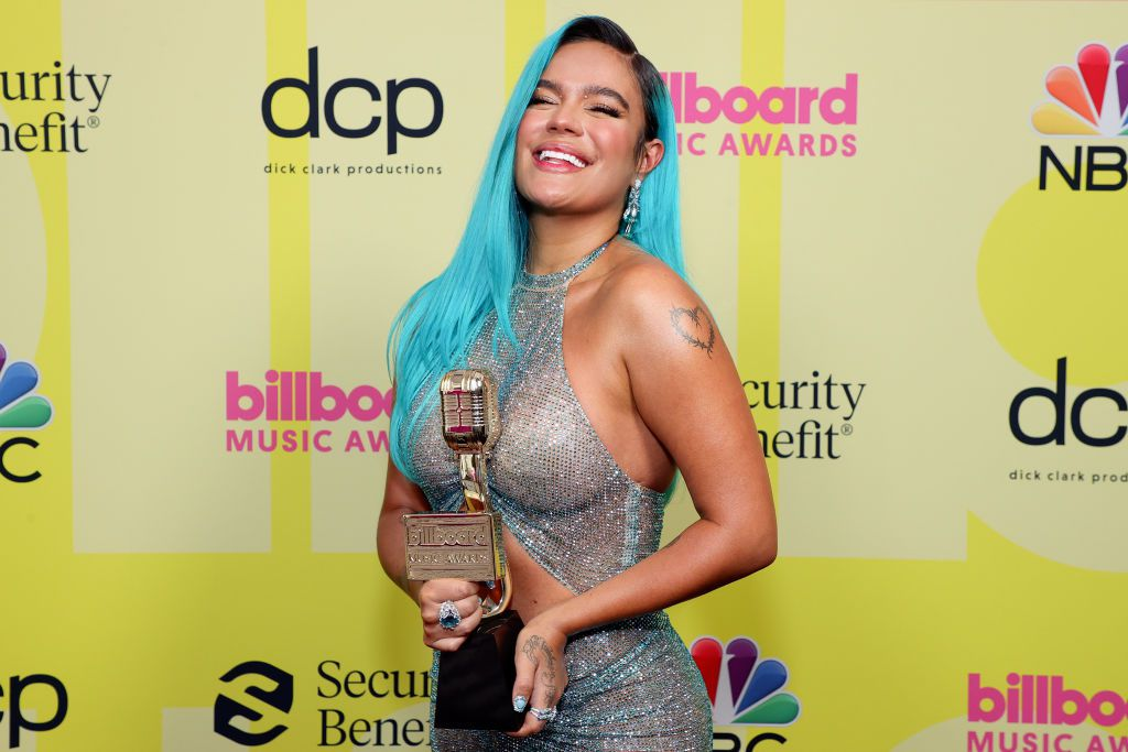 LOS ANGELES, CALIFORNIA - MAY 23: In this image released on May 23, Karol G, winner of the Top Latin Female Artist Award, poses backstage for the 2021 Billboard Music Awards, broadcast on May 23, 2021 at Microsoft Theater in Los Angeles, California. (Photo by Rich Fury/Getty Images for dcp)