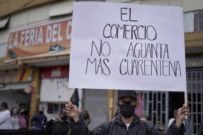 Protesta de comerciantes en San Victorino contra cuarentena por localidades  | EL ESPECTADOR