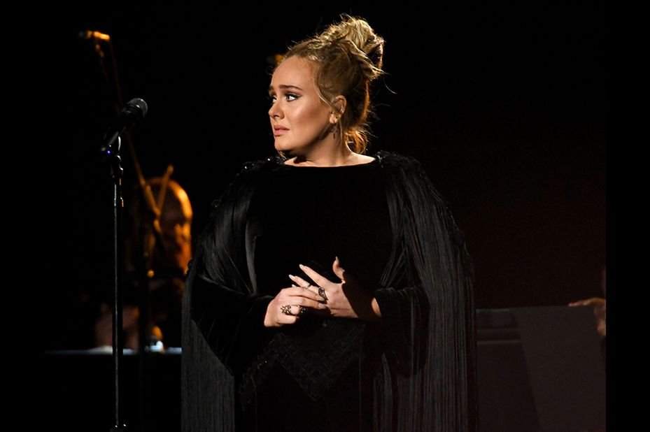 LOS ANGELES, CA - FEBRUARY 12: Recording artist Adele performing a tribute to George Michael onstage during The 59th GRAMMY Awards at STAPLES Center on February 12, 2017 in Los Angeles, California.   Kevork Djansezian/Getty Images/AFP