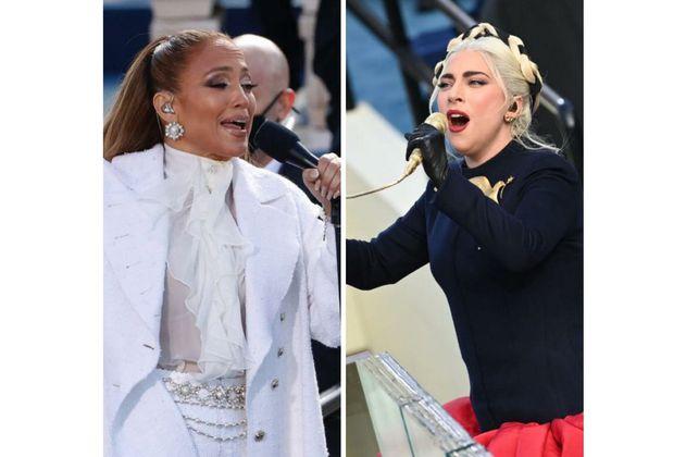 Así fueron las presentaciones de Lady Gaga y JLo durante la investidura de Biden
